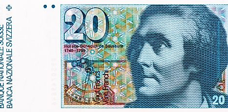 Portrait of Horace-Benedict de Saussure, a renowned scientist, mountaineer and Alpine explorer featured on Switzerland 20 Francs 1978 Banknotes.
