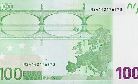 One hundred euro banknote. Euro is the currency used in Austria.