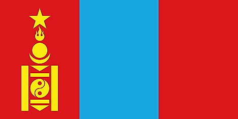 Red, blue, and red vertical stripes with Soyombo on red stripes on the hoist side