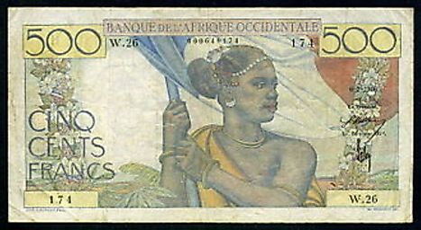 French West African 500 franc Banknote