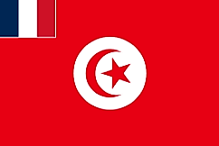 Flag of Tunisia with French tricolor on canton