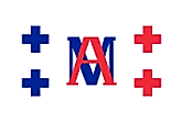 White banner with two blue (hoist) and two red (fly) crosses and letters M and A between to two sets of crosses