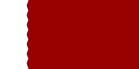 Dark maroon flag with broad white serrated band on hoist side