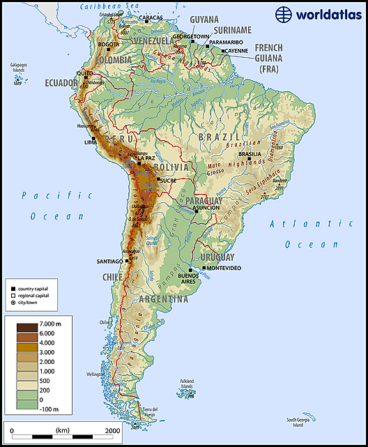 South America Map Physical Features Maps of South America