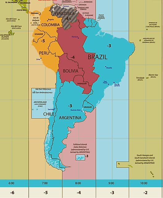 argentina time zone map South America Time Zones argentina time zone map