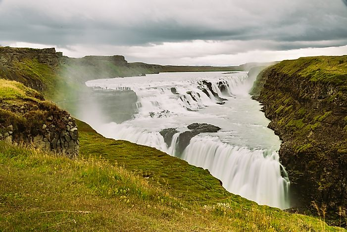 The Gullfoss waterfall on the Hvita River is one of the main attraction sites in Iceland.