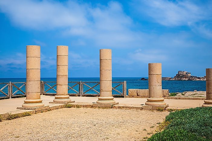 Ancient columns in Caesarea National Park.