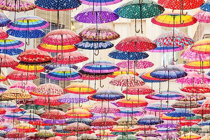 Umbrellas at the Mall of the World, Dubai.