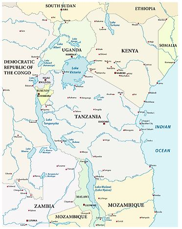 Map Of Africa Lake Victoria.The Largest Lakes In Africa Worldatlas Com