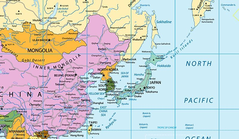 Map Of Asia Japan And China.The Five Regions Of Asia Asia Countries And Regions Worldatlas Com