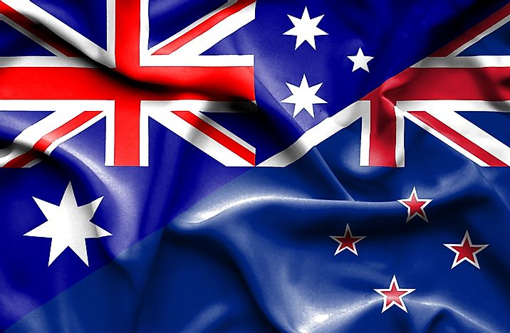 Australia's flag, left, with the flag of New Zealand.
