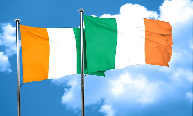 The similar flags of Ivory Coast (Cote d'Ivoire) and Ireland.