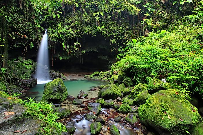 A waterfall in Dominica.