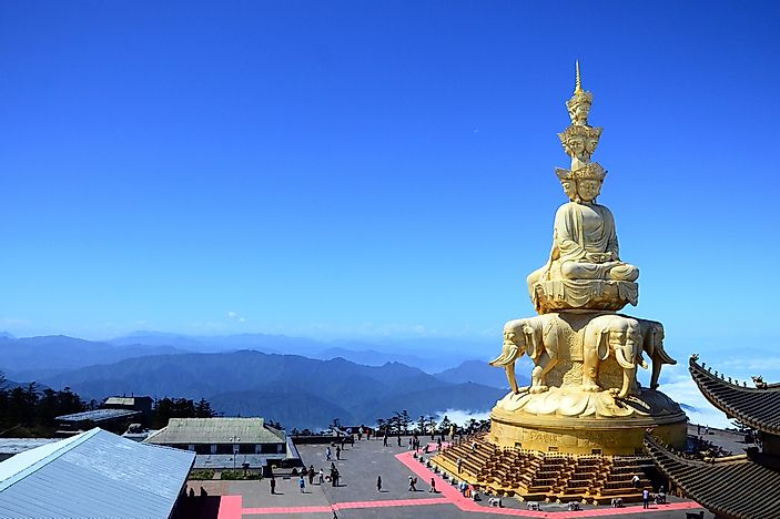 The statue of Buddha seen at the top of Mount Emei.