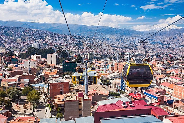 Cable cars over La Paz.