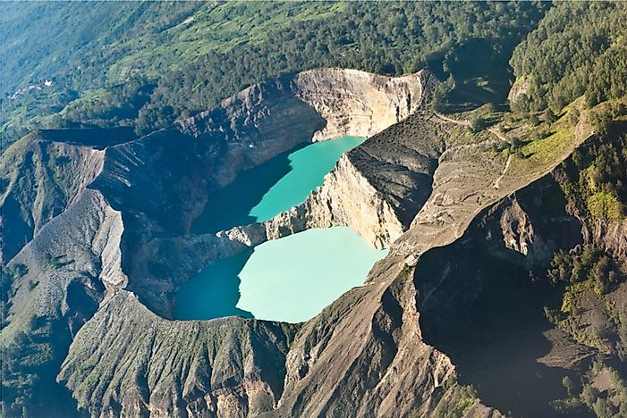 Blue lakes of Kelimutu volcano on the island of Flores.
