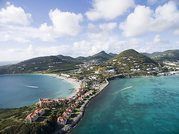 An aerial view of Sint Maarten.