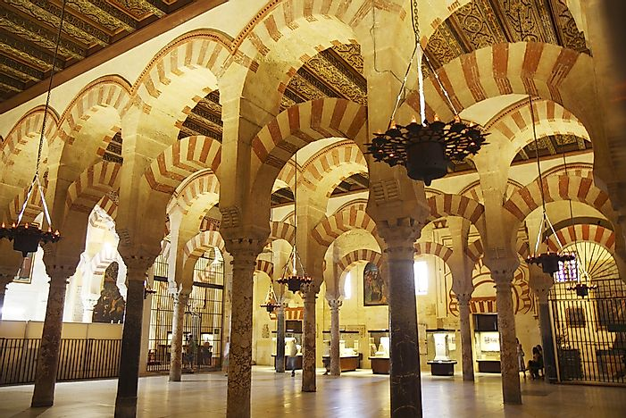 The interior of the Mosque-Cathedral of Córdoba.