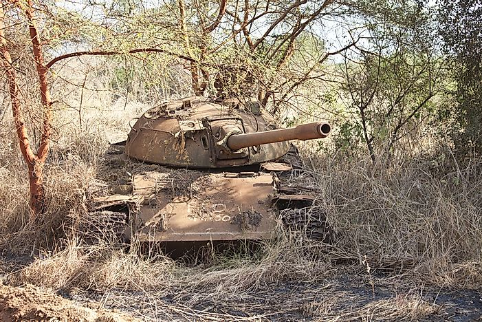 The remnant of a tank, destroyed in the Sudanese Civil War.
