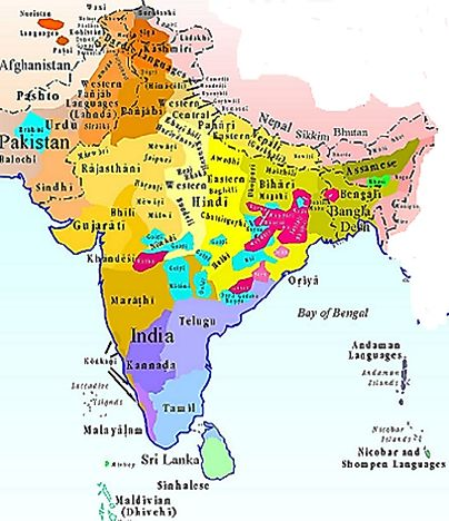 Most Widely Spoken Languages In India WorldAtlascom - World languages map