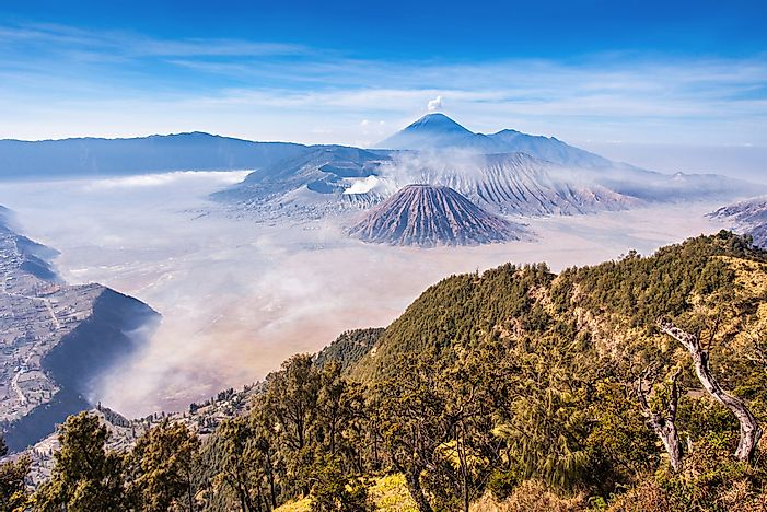 The volcanoes of Java Island, Indonesia.