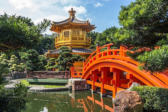 The Golden Pavillion Temple in Nan Lian Garden, Hong Kong.