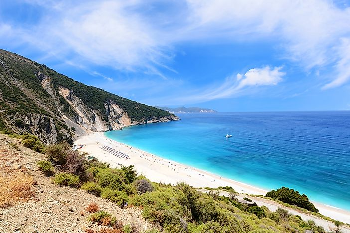 Myrtos Beach on Cephalonia Island, Greece.