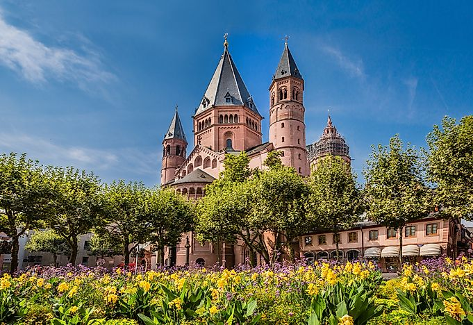An ancient cathedral in Mainz, Germany.