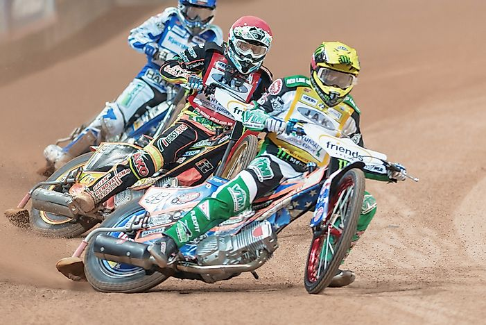 Speedway riders compete at the Speedway Grand Prix. Editorial credit: Stefan Holm / Shutterstock.com
