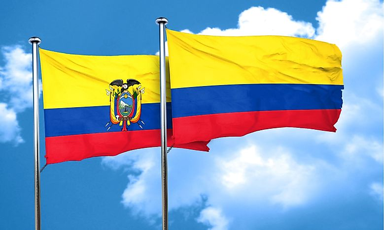 The flag of Ecuador, left, with the flag of Colombia.