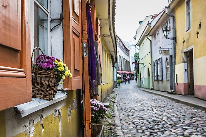A typical street in Tallinn, Estonia.