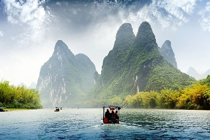 The typical karst landscape on the Li River near Yangshuo, China.