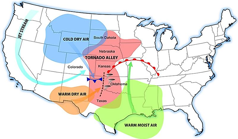 Tornado Alley The Most Tornado Prone Region In The World - Tornado us map