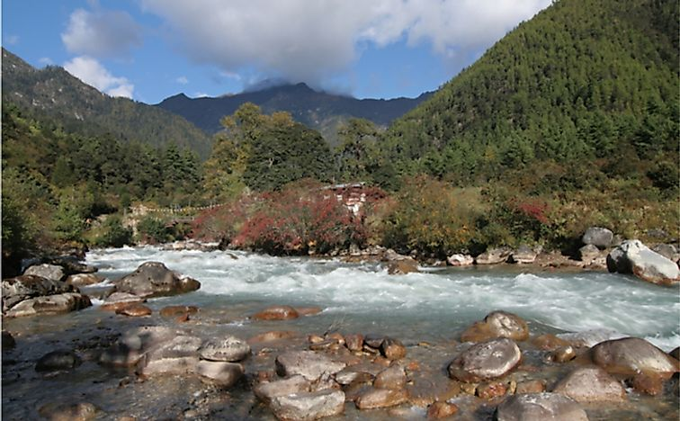 The river Paro runs through the Jigme Dorji National Park. Bhutan.