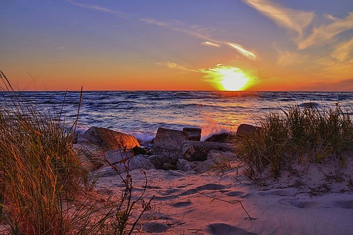 A beautiful sunset over the beach at Ludington State Park, Michigan.