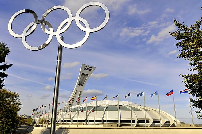 The Montreal Olympic Stadium built to house the 1976 games. Photo credit: meunierd / Shutterstock.com.