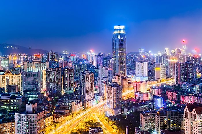 Guangzhou, China. Guangzhou has the ninth largest collection of buildings in the world.