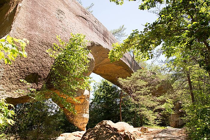 Sky Bridge is a natural stone arch bridge in the Red River Gorge.
