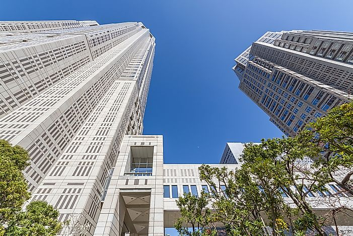 A close-up view of the Tokyo Metropolitan Government Building.