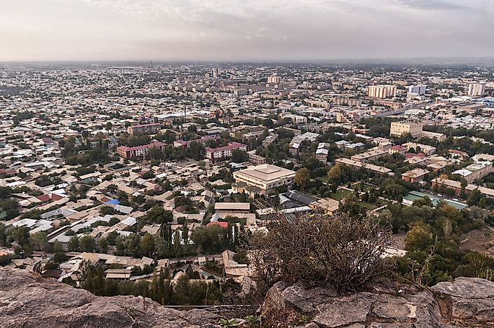 View of Osh from a nearby mountain.