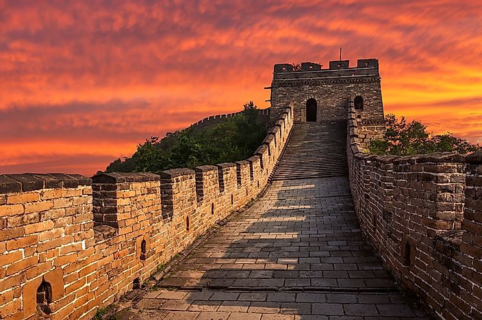 A sunset on the Great Wall at Mutianyu.
