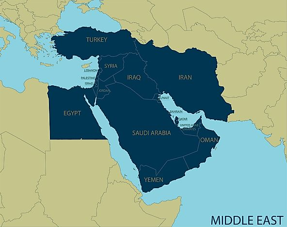 Which Are the Middle Eastern Countries? - WorldAtlas.com on world map in oman, world map in kuwait, world map in bahrain,