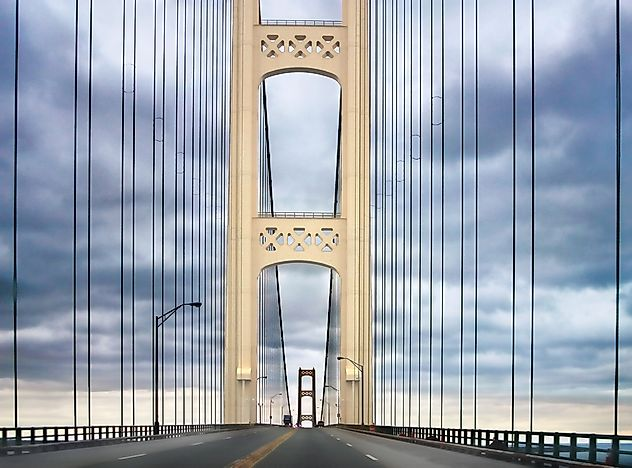 Mackinaw Bridge, which connects to Michigan's Upper Peninsula.