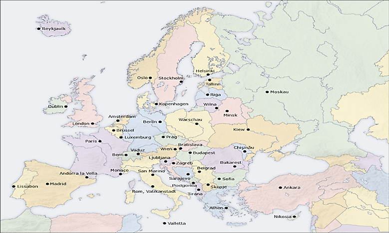 National Capital Cities In Europe - WorldAtlas.com