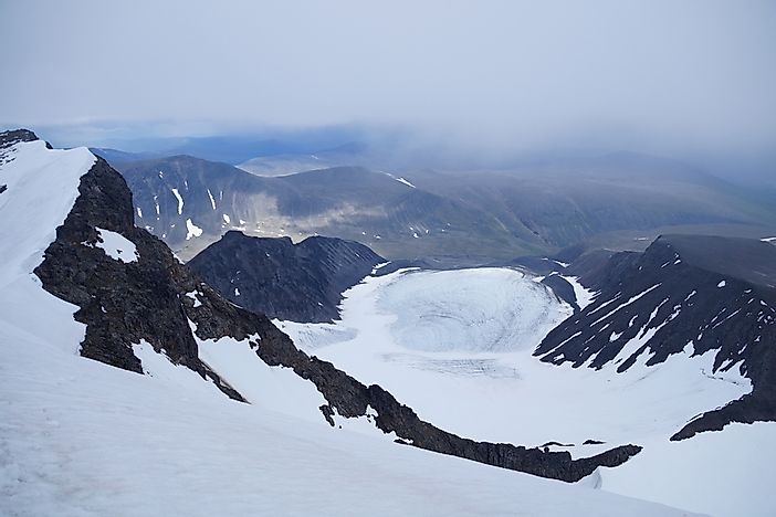 Mount Kebnekaise is part of the Scandinavian Mountains.