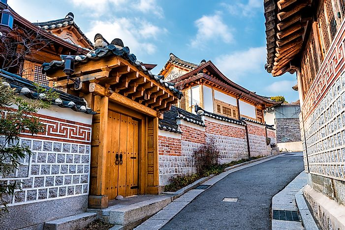 Traditional Korean houses in Seoul, South Korea.