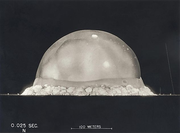 Footage of the Trinity Test, the first testing of the detonation of a nuclear weapon for the Manhattan Project, on July 16, 1945.