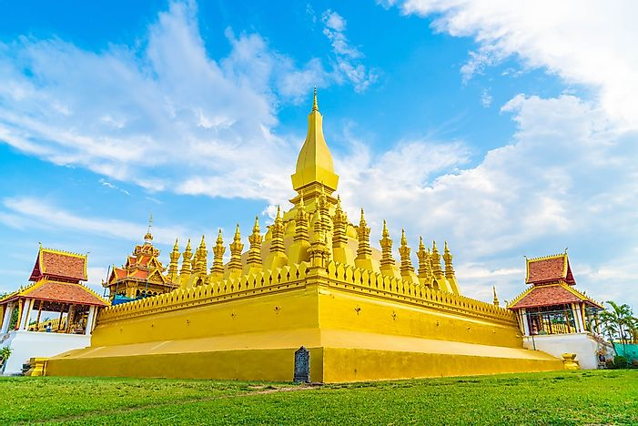 #1 Laos Has A Buddhist Stupa That Is Adorned In Gold