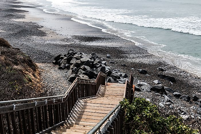 The boardwalk leading down to Carlsbad State Beach, California.