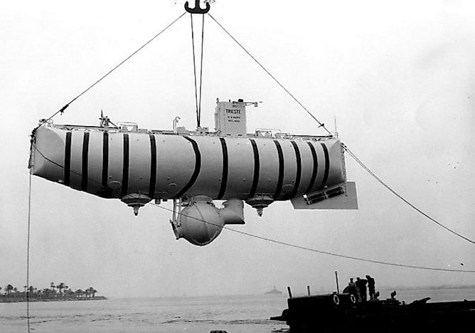 The Journey of the Bathyscaphe Trieste into The Challenger Deep